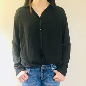 New Professional Black Button Up Blouse